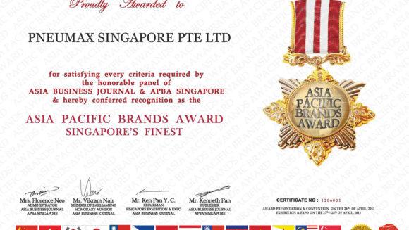 Asia Pac Brand name Certificate 2013