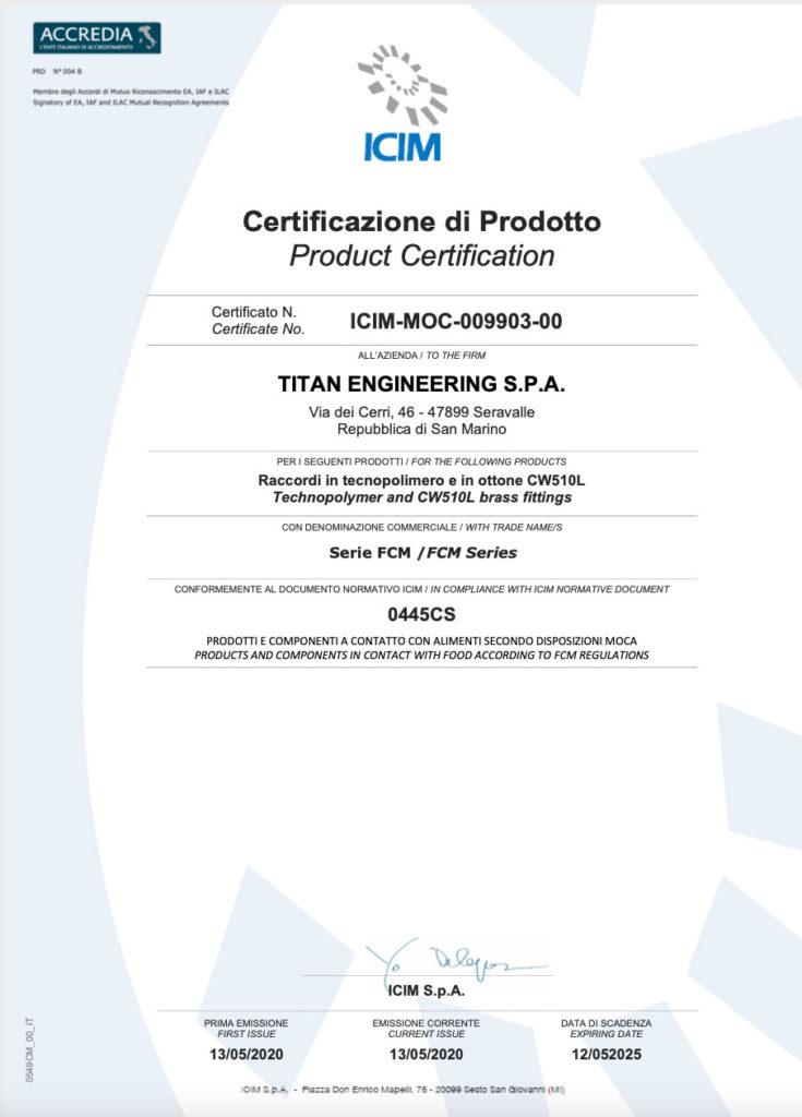 Certificazione di Prodotto MOCA TITAN